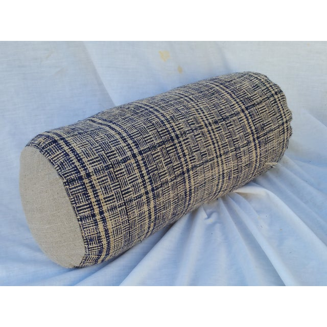 Tribal Indigo Plaid Neck Pillow - Image 2 of 4