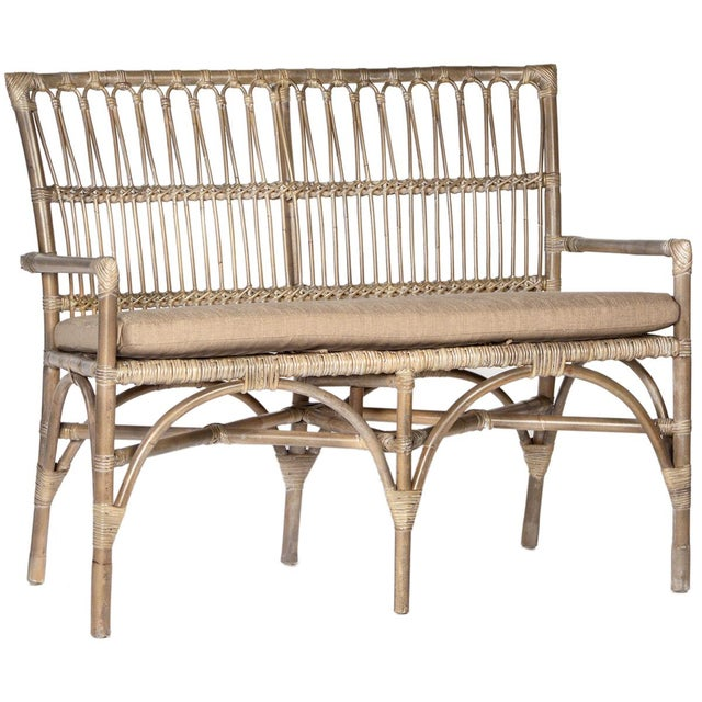 Boho Chic Bamboo Entry Bench For Sale - Image 3 of 3
