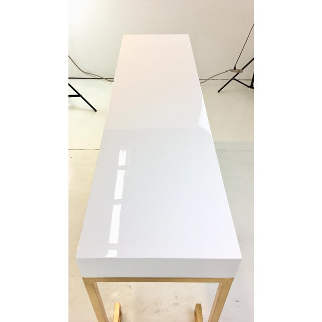 Worlds Away Worlds Away Contemporary Barsanti White Lacquer Console Table For Sale - Image 4 of 6