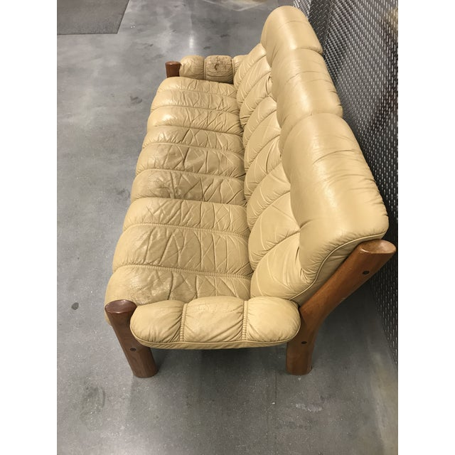 1970s Ekornes Stressless Montana Solid Teak and Leather Sofa For Sale - Image 5 of 10