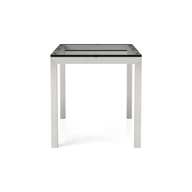 Crate Barrel Parsons Stainless Steel Glass Table For Image 9 Of 10