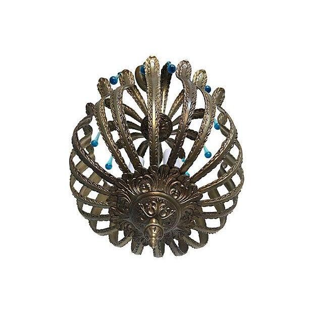 Mid-Century Brass Acanthus Lantern Chandelier - Image 5 of 6