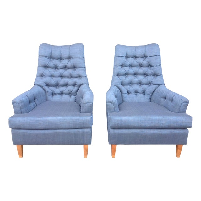 Mid-Century Tufted Blue Lounge Chairs - A Pair - Image 1 of 7
