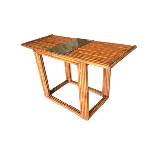 "Gabriella Crespi Rattan Rattan ""Cube"" Sofa or Console Table With Brass Center For Sale"