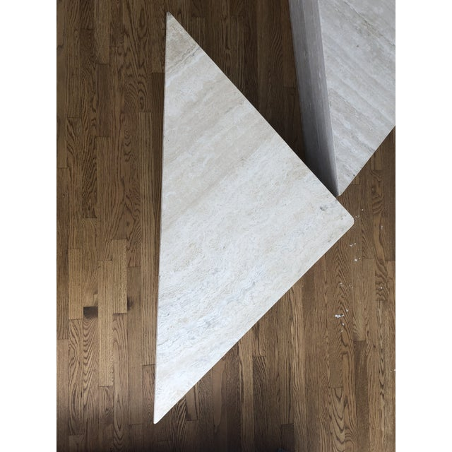 Vintage Travertine Stone Triangle Coffee Table - 2 Pieces For Sale - Image 10 of 13