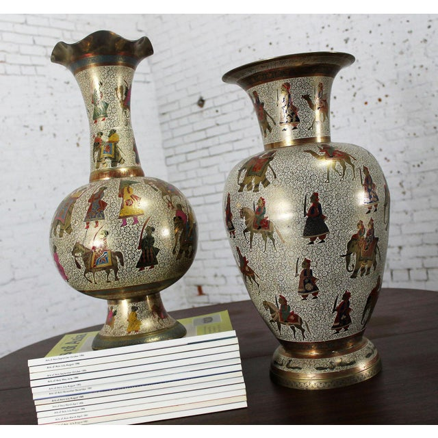 Persian Etched & Enameled Cast Brass Vases - A Pair - Image 2 of 10