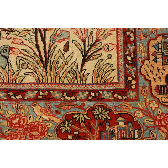 1910s 1910s Antique Kashan Blue and Beige Wool Persian Rug-4′6″ × 7′1″ For Sale - Image 5 of 8