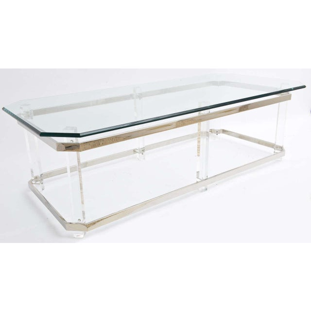 Metal 1970s Rectangular Lucite and Chrome Cocktail Table by Charles Hollis Jones For Sale - Image 7 of 11