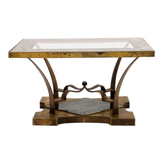 Mexican Modern Arturo Pani Brass Eglomise Sculptural Side Table For Sale