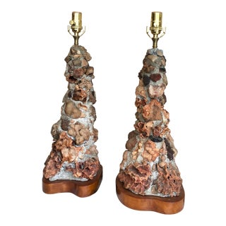 Vintage Mid-Century Quartz Geode and Stone Table Lamps - a Pair For Sale