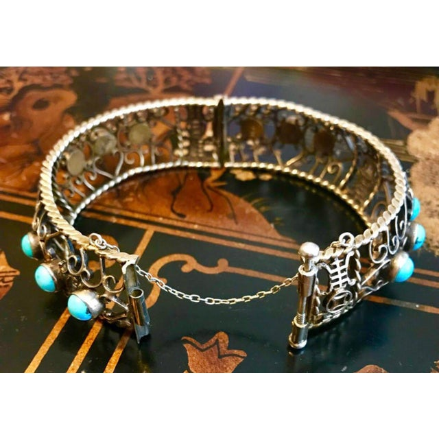 Metal 1940 Chinese Gold, Sterling and Turquoise Bangle For Sale - Image 7 of 8