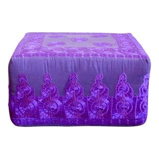 Rabati Purple Silk Embroidery Square Pouf Ottoman