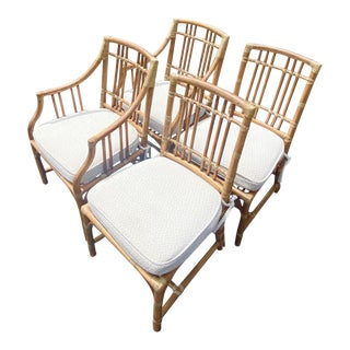 Vintage Coastal McGuire Bamboo Dining Chairs - Set of 4 For Sale