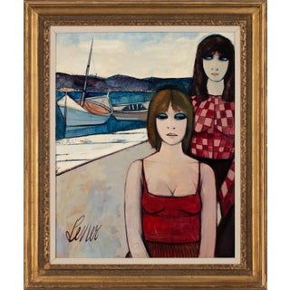 """Circa 1960 """"Les Femmes Des Pêcheurs"""" Figurative Oil Painting by Charles Levier, Framed For Sale"""