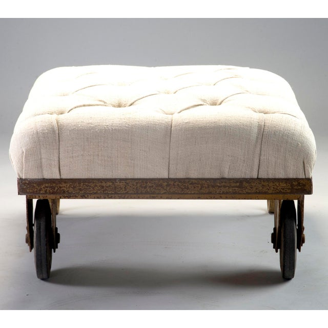 1930s Tufted Ottoman Bench Stool with Industrial Wheelbarrow Base For Sale In Detroit - Image 6 of 13