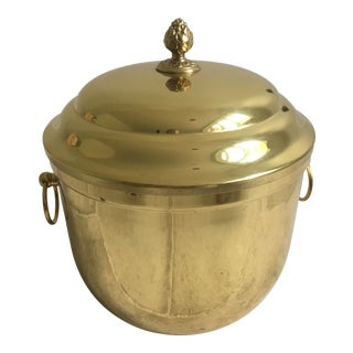 MidCentury Brass Ice Bucket With Lid and Glass Liner For Sale