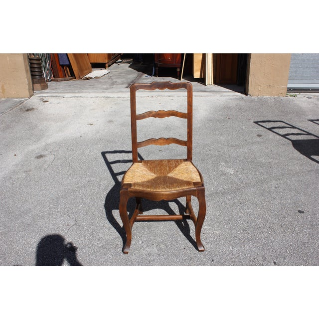 Early 20th C. Vintage French Country Rush Seat Walnut Dining Chairs - Set of 8 For Sale - Image 9 of 13