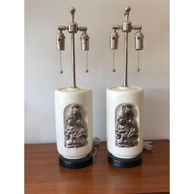 """White 1950s Vintage Waylande Gregory """"Madonna and Child"""" Ceramic Lamps - A Pair For Sale - Image 8 of 9"""