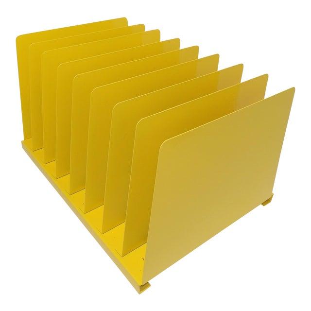 87b5a0e28c87a3 Mid Century Modern Yellow Metal File - Vinyl Record Album Rack For Sale