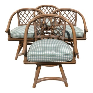 Ficks Reed Natural Rattan Swivel Chairs - Set of 4 For Sale