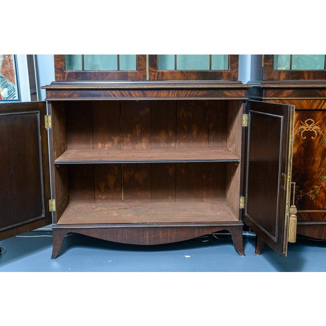 Regency Style Pair of Inlaid Wood Cabinets With Blown Glass Doors For Sale - Image 4 of 13