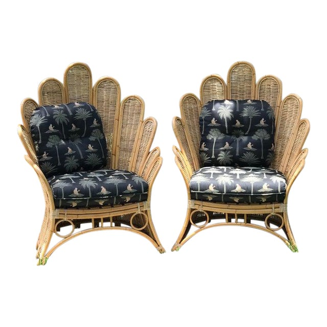Vintage Rattan Palm Frond Chairs With Unused Monkey Embroidered Upholstery ( White Reflections on Fabric Is Camera) Green at Feet Is Grass - a Pair For Sale