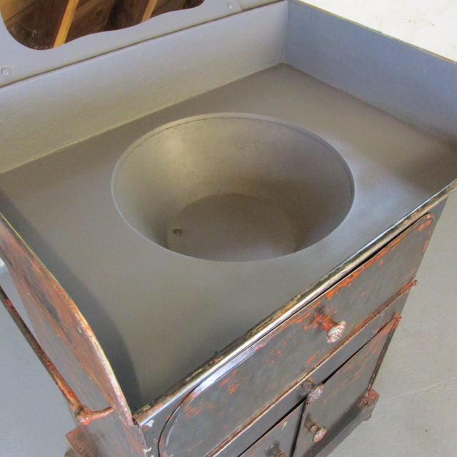 Antique Riveted Steel Campaign Style Vanity and Wash Basin For Sale - Image 4 of 13