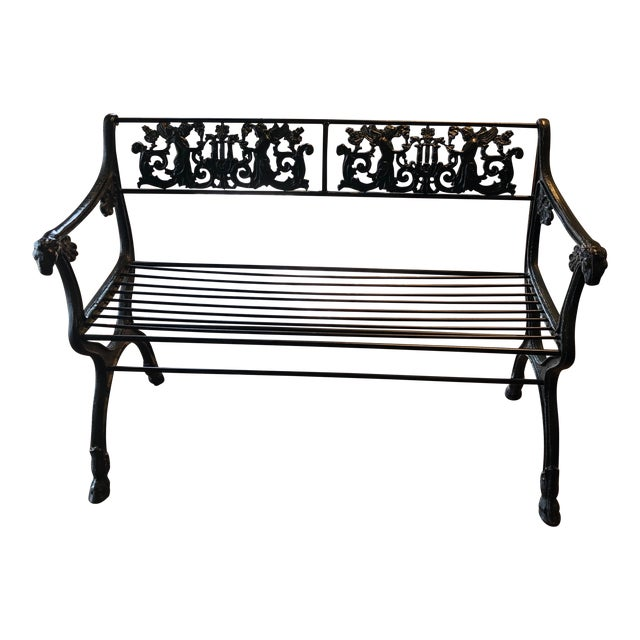 Neoclassical Iron Bench by German Architect Fred Shingle For Sale