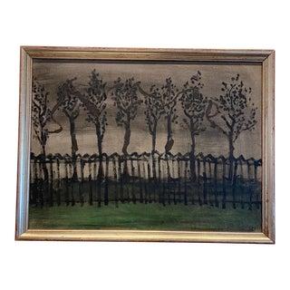 Winter Scene Landscape Painting on Artist Board For Sale