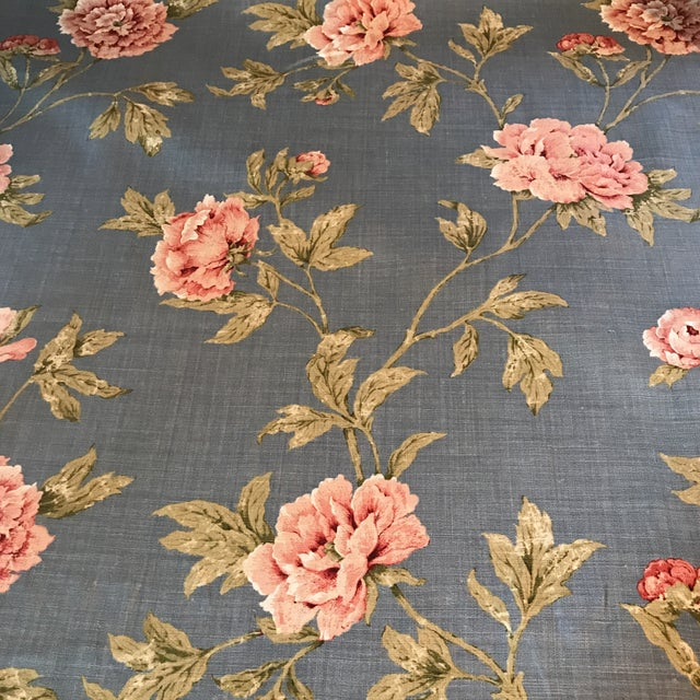Colefax & Fowler Karina Blue Linen Fabric - 7 3/8 Yards For Sale - Image 9 of 10