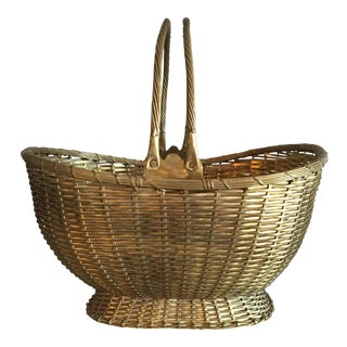 Decorative Woven Brass Basket For Sale