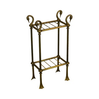 Italian Brass Vintage Swan Neck Umbrella Stand For Sale