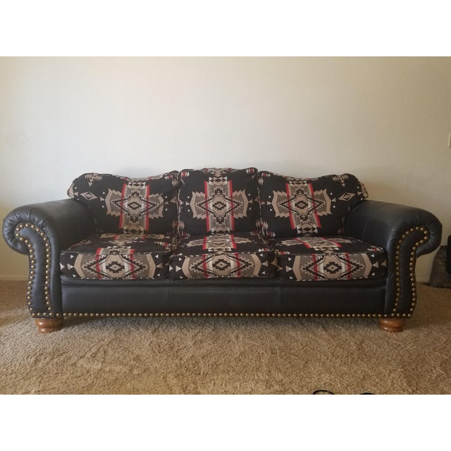 RARE Western Pendleton Mills Couch in Chief Joseph pattern wool fabric. Black leather on arms with gold-tone nail head...