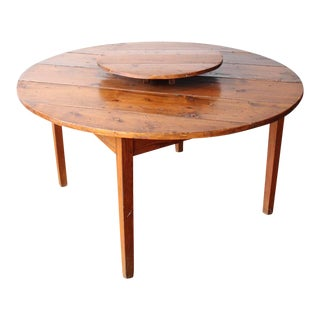 Vintage Pine Plank Round Farm Table With Lazy Susan For Sale