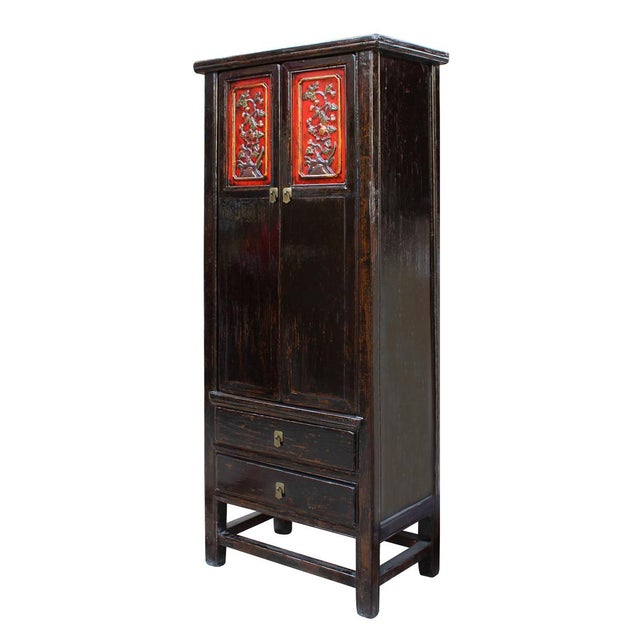 Chinese Distressed Black Red Floral Motif Cabinet For Sale - Image 4 of 6
