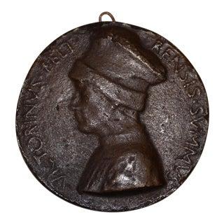 Rare 15th Century Bronze Relief Medallion of Vittorino Da Feltre C.1440s For Sale