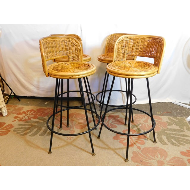 Mid-Century Wicker Bar Stools - Set of 4 - Image 2 of 8