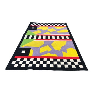 1990s Vintage Amacani Mexican - Memphis Style Rug- 6′ × 9′ For Sale