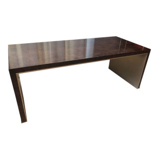 Dark Oak Burled Waterfall Cocktail Table For Sale