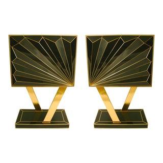 MarGian Studio Double Sunburst Glass Cabinets - a Pair For Sale
