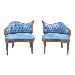 1960s French Provincal Blue Velvet Tufted Chairs - a Pair
