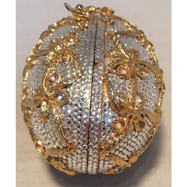 Judith Leiber Judith Leiber Swarovski Crystal Clear and Gold Faberge Egg Minaudiere For Sale - Image 4 of 10