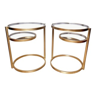 1980s Mid-Century Modern Design Institute of America Brass Swivel Ring Tables - a Pair For Sale