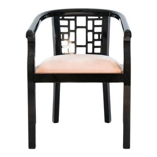 Nandi Black Lacquer Chair With Blushed Pink Suede Cushion For Sale