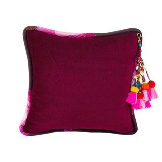 Deep Red / Ashes of Roses Velvet Throw Pillow For Sale