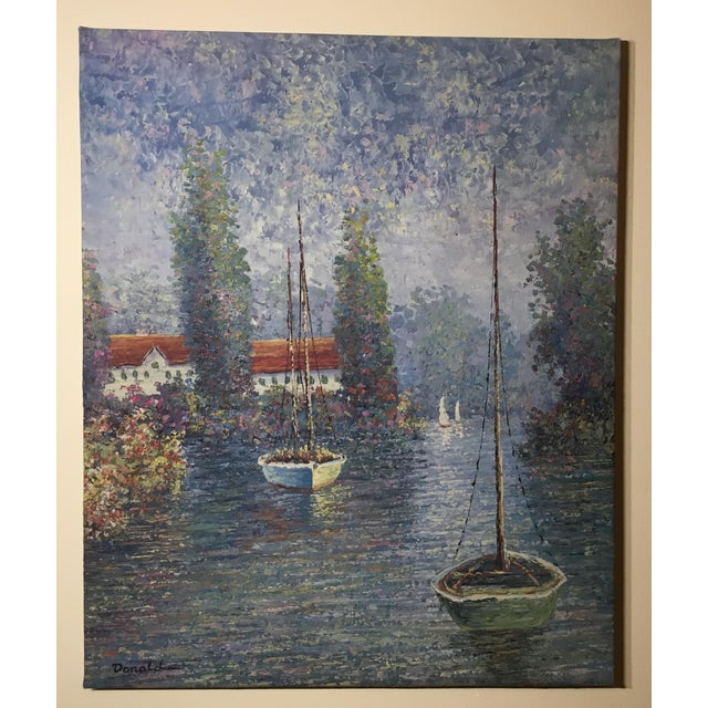 Vintage Sailing Boats on the Lake Oil on Canvas Painting For Sale - Image 10 of 11