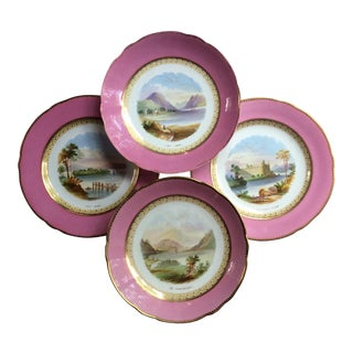 Antique Spode Porcelain Dessert Service With Views of Scotland For Sale