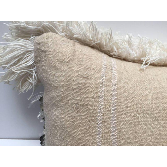 Moroccan Wedding Pillow With Silver Sequins and Long Fringes For Sale In Los Angeles - Image 6 of 10
