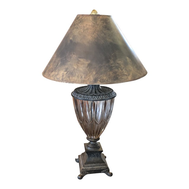 Vintage Neoclassical Crystal Table Lamp For Sale