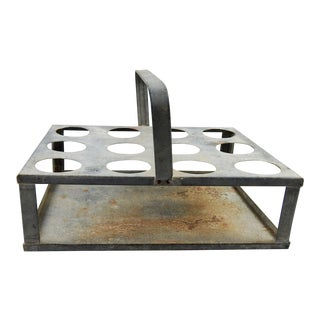 Vintage Galvanized Metal Bottle Carrier For Sale